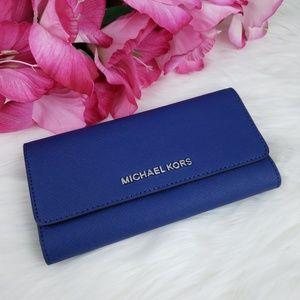 🌺NWT Michael Kors LG Trifold Wallet Sapphire Blue